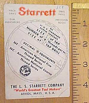 Starrett Screw Thread Calculator 1940's
