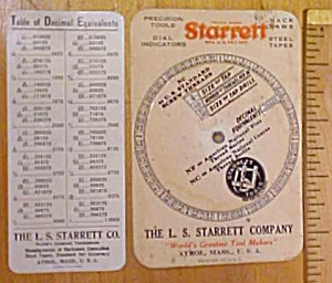 Starrett Screw Thread Calculator 1940's + Chart