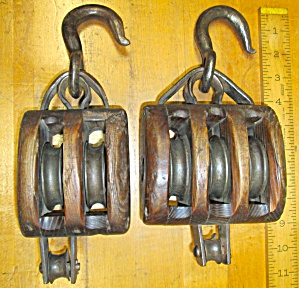 Antique Rope Pulley Block & Tackle Double/triple