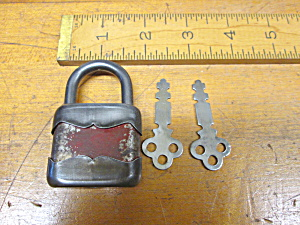 Vintage Pressed Steel Padlock W/keys