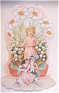 Valentines Card Cherub Floral Fold Out Antique (Image1)