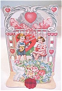 Antique Valentines Germany Boy Girl Roses Fold Out (Image1)