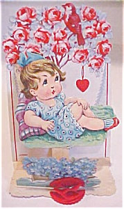 Valentines Card Germany Girl In Roses Fold Out Antique