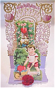 Fold Out Valentines Card Boy with Wagon Germany (Image1)