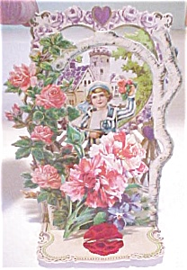 Valentines Card Germany Boy Castle Fold Out Antique (Image1)