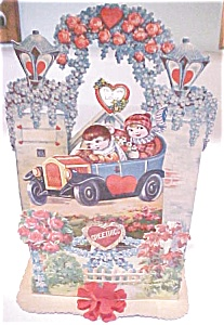 Valentines Card Germany Large Size Flowers Fold Out  (Image1)