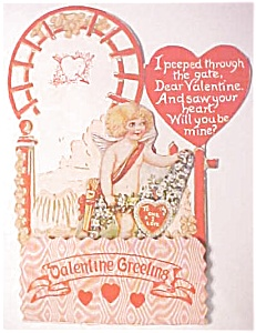 Honeycomb Valentines Card Cherub 1920's Near Mint (Image1)