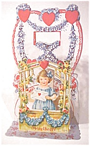 Valentines Card Girl Gate Flowers Germany Fold out (Image1)