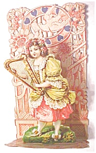 Valentines Card Germany Girl With Harp Fold Out
