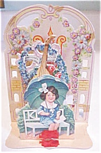 Fold Out Valentines Card Girl with Umbrella 1910-20's (Image1)