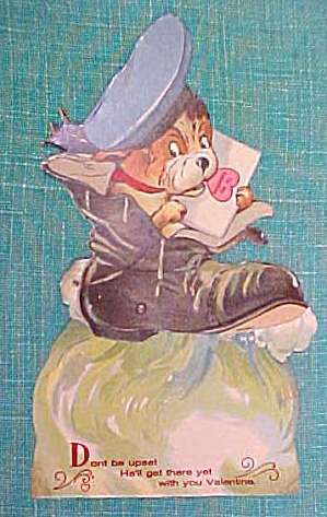 Antique Valentines Card Puppy In Boot