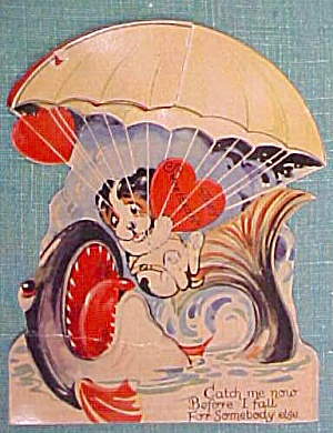 Antique Valentines Card Puppy in Parachute Fold Out (Image1)
