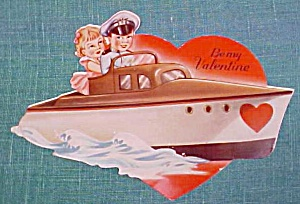 Antique Valentines Card Boy & Girl Cabin Cruiser