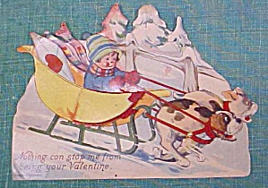 Valentines Card Germany Sleigh Fold Out