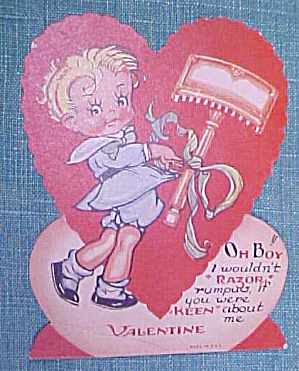 Antique Valentines Card Keen Razor Boy (Image1)