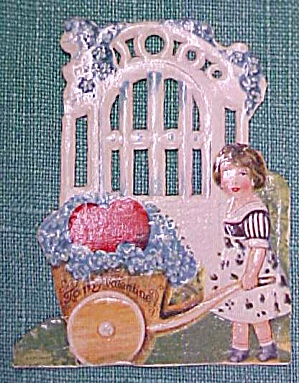 Antique Valentines Card Garden Scene Cut Out (Image1)