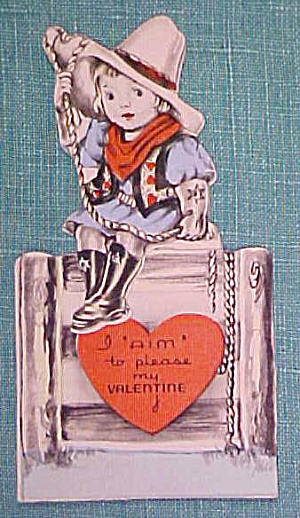 Antique Valentines Card Cowgirl (Image1)