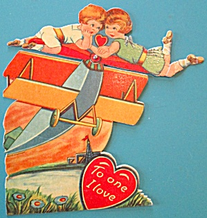 Airplane Valentines Card 1930's Mechanical Boy Girl