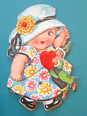 Cute Girl Valentines Card 1930's Mechanical Walker