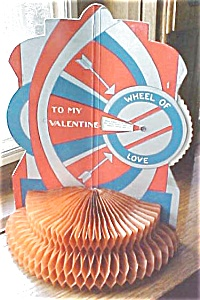 Vintage Valentines Honeycomb 4 Pc Spin Wheel
