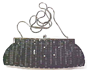 Evening Bag  Black Beaded Elegant Deco Style (Image1)