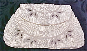 Antique Beaded Purse France Silver Beads (Image1)