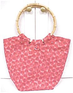 Ladies Handbag Red Oriental Style Bamboo Handles OOAK (Image1)