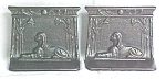 Click here to enlarge image and see more about item BE05: Egyptian Sphinx Bookends Ornate Metal