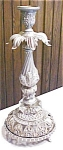 Brass Candlestick Large Ornate Lamp Base Roses Glass