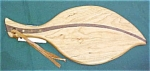 Click here to enlarge image and see more about item CC1004: Cutting Board Leaf Shape Maple Walnut Inlay Laminate