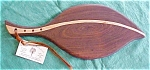 Click here to enlarge image and see more about item CC1020: Cutting Board Leaf Shape Maple Walnut Inlay Laminate