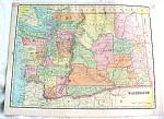 Click to view larger image of Crams Map Washington Oregon 1898 Antique (Image1)