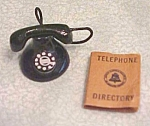 Click here to enlarge image and see more about item DHF166: Dollhouse Telephone & Directory 1940-60's Black Dial