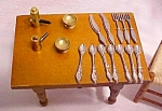 Click here to enlarge image and see more about item DOLL1448: Doll House Wood Kitchen Table + Silverware & More