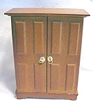 Click here to enlarge image and see more about item DOLL1476: Doll House Wardrobe Armoire  Wood + Hat box