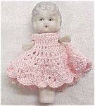 Click here to enlarge image and see more about item DOLL191: All Bisque Doll Flapper Style Pink Dress Miniature