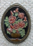 Click here to enlarge image and see more about item EB12718: Roses Chalkware Plaque Cottage Chic