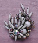 White and Aurora Borelias Rhinestone Brooch