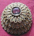 Unique Rhinestone Raised Dome Brooch