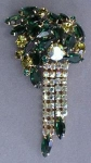 Incredible Large Emerald Green Rhinestone Brooch
