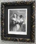 Click to view larger image of Engraving Lady with Veil Ornate Frame 1890's (Image1)