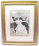 Click here to enlarge image and see more about item EBART417: Art Deco French Lady Color Print 1936 Framed