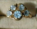 Lovely Sky Blue Topaz Cluster Ring 14 kt