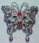Click here to enlarge image and see more about item EBJ301: Large Rhinestone Butterfly Brooch Exquisite Colors