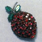 Click here to enlarge image and see more about item EBJ388: Warner Strawberry Brooch Pin Excellent Stones