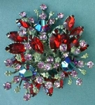 Exquisite Red Floral Spray Rhinestone Brooch Vintage