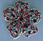 Elegant Large Red Rhinestone Floral Brooch Pin