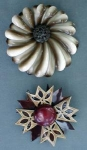 Two Beautiful Vintage Enamel Floral Pins