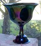 Click here to enlarge image and see more about item FENT20121015: Fenton Favrene Compote Signed 1976 Art Glass