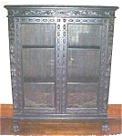 Click here to enlarge image and see more about item FURN184: Bookcase Ornate Carving Two Door Lions